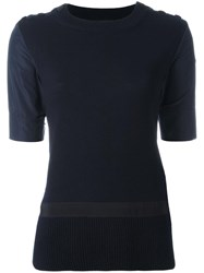 Moncler Knitted Body Short Sleeve Top Blue