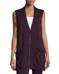 Max Studio Sleeveless Terry Zip Front Cardigan Wine Natur