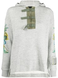 Mr And Mrs Italy Buckle Fastened Hoodie Grey