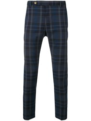 Entre Amis Checked Skinny Trousers Blue