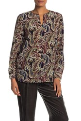 Lafayette 148 New York Cyrus Paisley Silk Blouse Black Multi