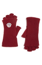 Moncler Women's Guanti Wool And Cashmere Long Fingerless Gloves Burgundy