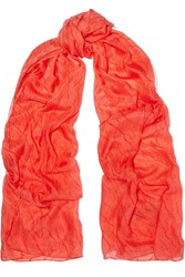 Donna Karan Crinkled Silk Chiffon Scarf Red