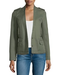 Zadig And Voltaire Cotton Twill Snap Front Jacket Khaki