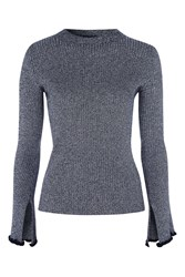 Topshop Flute Frill Sleeve Knitted Top Navy Blue