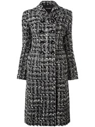 Dolce And Gabbana Tweed Midi Coat Black