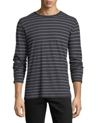 8584dca7 Majestic Cotton Cashmere Crewneck Long Sleeve Striped T Shirt Blue Gray