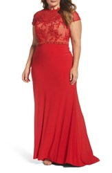 Mac Duggal Plus Size Women's Embellished Crochet And Jersey Gown Red Nude