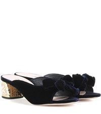 Miu Miu Embellished Velvet Sandals Blue