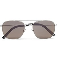 Saint Laurent Metal Aviator Style Sunglasses Silver