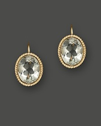 Bloomingdale's 14K Yellow Gold Bezel Set Large Drop Earrings With Prasiolite Green Gold