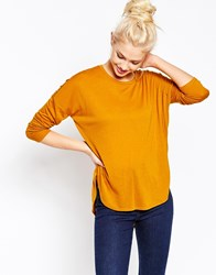 Monki Long Sleeve Dip Hem T Shirt Yellow