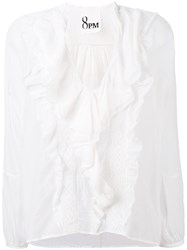8Pm Pleated Blouse Women Silk Cotton S White