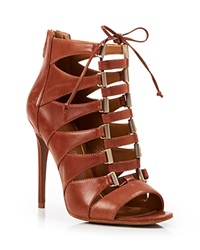 Enzo Angiolini Open Toe Ghillie Lace Up Caged Sandals Nehan High Heel Tan