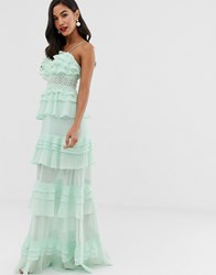 True Decadence Premium Frill Layered Cami Maxi Dress With Lace Insert In Soft Mint Green