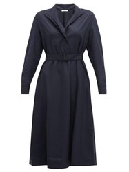 The Row Tula Belted Wool Shirt Dress Navy