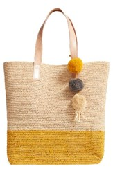 Mar Y Sol Montauk Woven Tote With Pom Charms