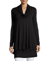 Neiman Marcus Tiered Cowl Neck Long Sleeve Tunic Black