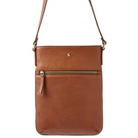 Joules Mayfair Leather Across Body Bag Dark Tan