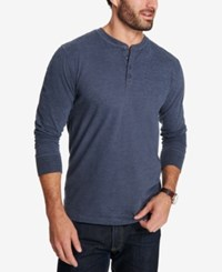 Weatherproof Vintage Men's Heathered Henley Maritime Blue