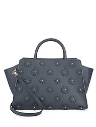 Zac Posen Eartha Iconic Floral Accented Satchel Navy