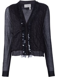 Lanvin Sheer Panel Cardigan Blue