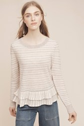 Anthropologie Flounced Cashmere Pullover Grey Motif