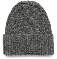 The Workers Club Ribbed Melange Merino Wool Beanie Gray