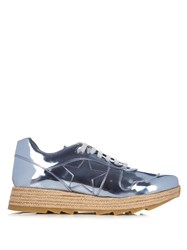 Stella Mccartney Macy Faux Leather Trainers Silver