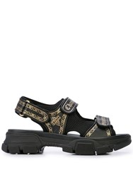 ef5582410d80 Gucci Leather And Mesh Sandals With Print Black