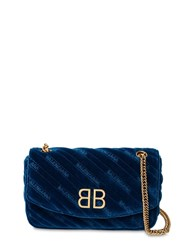 Balenciaga Bb Round S Velvet Shoulder Bag Blue