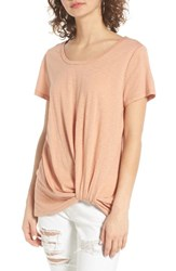 Women's Bp. Twist Front Tee Tan Cork