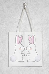 Forever 21 Bunny Graphic Tote Beige Multi