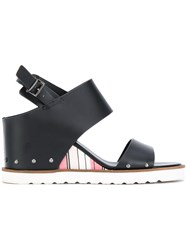 Armani Jeans Striped Wedge Sandals Women Polyurethane Synthetic Resin Rubber 38