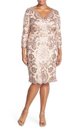 Tadashi Shoji Three Quarter Sleeve V Neck Sequin Cocktail Dress Plus Size Dusty Rose