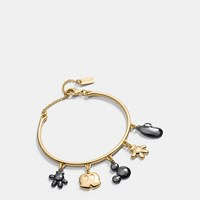 Coach Mickey Charm Bracelet Gold Black