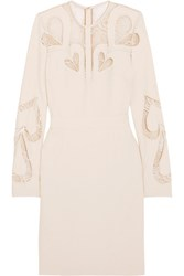 Elie Saab Lace Paneled Crepe Dress Ivory