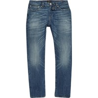 River Island Mens Mid Blue Wash Classic Dylan Slim Fit Jeans