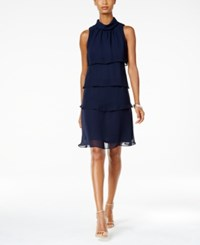 Jessica Howard Petite Mockneck Tiered Sheath Dress Navy