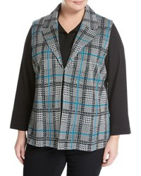 Ming Wang Plaid Knit Vest Black White