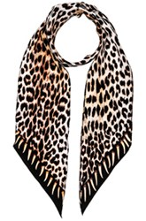 Rockins Leopard's Teeth Classic Skinny Scarf In Animal Print Brown Animal Print Brown