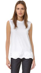 Victoria Beckham Sleeveless Flower Applique Tee White