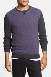 1901 Stripe Merino Wool And Cashmere Crewneck Sweater Gray