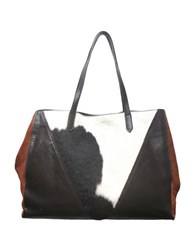 Sondra Roberts Leather And Calf Hair Tote Brown