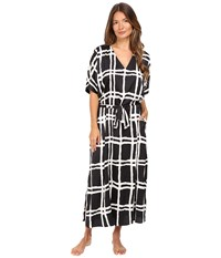 Kate Spade Charmeuse Caftan Painterly Forest Plaid Women's Robe Black