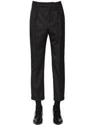 Saint Laurent Cropped Wool Lurex Trousers Black