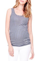 Ingrid And Isabel Women's Sleeveless Maternity Top True Navy White Stripe