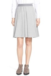 Fabiana Filippi Stretch Wool A Line Skirt Gray