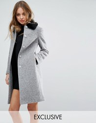 Helene Berman Longline Vintage Coat With Contrast Faux Fur Collar Grey Black