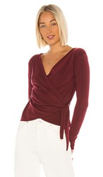 Velvet By Graham And Spencer Janessa Wrap Top In Wine. Malbec